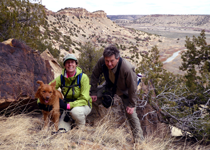 Patrice Rhoades-Baum, Michael Baum and Jake in southeastern Colorado