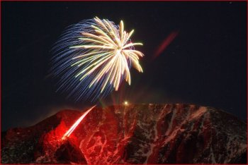 Midnight on New Year's Eve: Fireworks on Pikes Peak (photographer unknown)