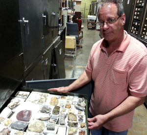 John Rhoades with CRC fossil collection