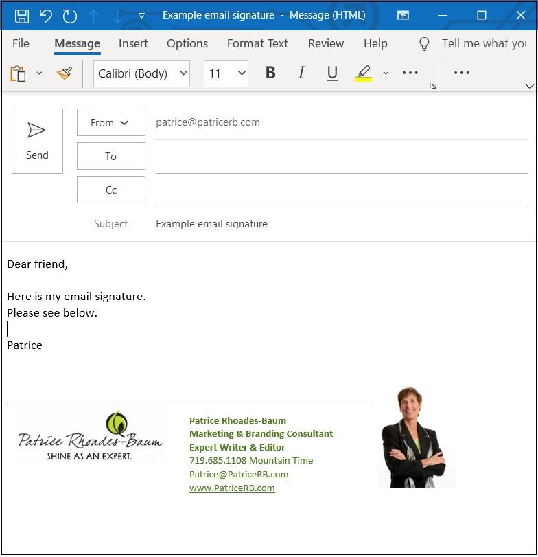 Patrice Rhoades-Baum's example email signature